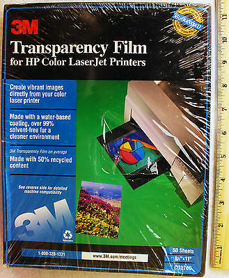 3M Transparency Film for HP Color LaserJet Printers 50 Count New CG3700 Sealed