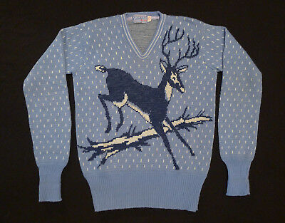 1940s Picture Knit Sweater Vintage Catalina Sportswear Deer 100% Wool V-Neck S