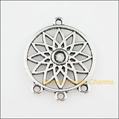 2Pcs Tibetan Silver Tone Round Flower Frame Charms Pendants Connectors 26x33mm