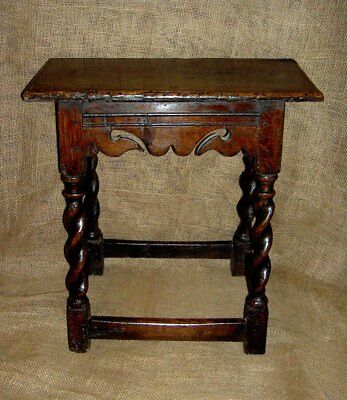 Rare Charles II 17th Century Walnut Joint Stool With Spiral Turned Legs c1680