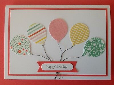 Handmade Birthday card: Balloons with strings - watermelon.
