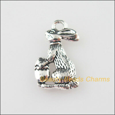 12 New Charms Animal Lovely Rabbits Tibetan Silver Tone Pendants 10x17.5mm