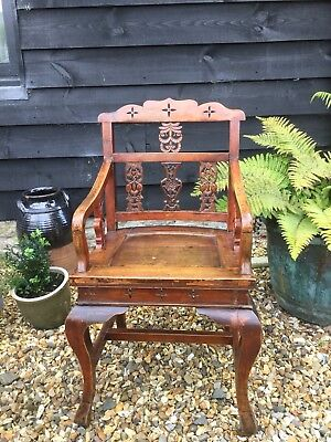 Stunning French Oriental Style Cherry Wood Carved Armchair Chair 19th Century