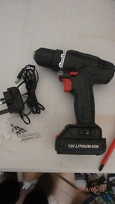 Cordless Drill with battery pack and charger and screwdriver bit