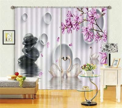 A Couple White Swan 3D Curtain Blockout Photo Printing Curtains Drape Fabric