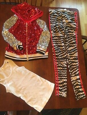 Weissman 3 Piece Sequined Dance Hip Hop Costume Size Adult S Excellent Condition