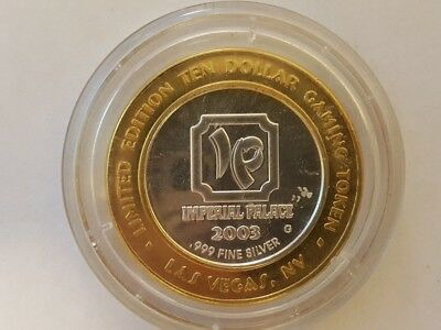 Fine Silver - Limited Edition - Imperial Palace $10 Gaming Token - 2003