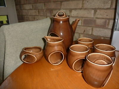 holkham pottery brown coffee set
