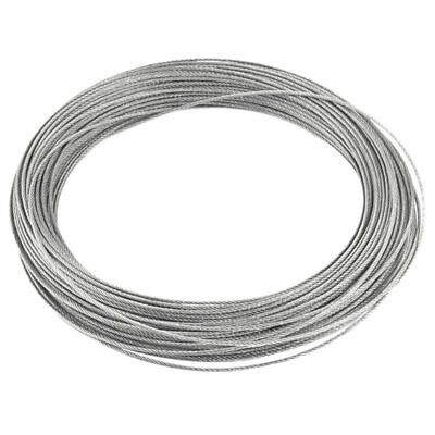 Binding 7x7 1.2mm Dia 25M Long Stainless Steel Flexible Wire Rope Gray SK
