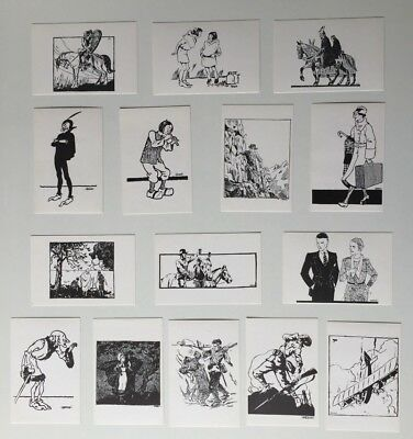 Herge Map Postal Black And White / Tintin / Lot 15 Former Illustration
