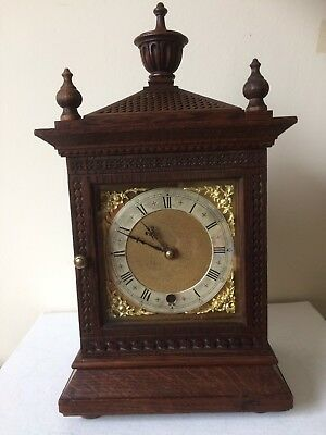 Antique Ornate Detailed Wood Cased  MANTLE CLOCK Working Order