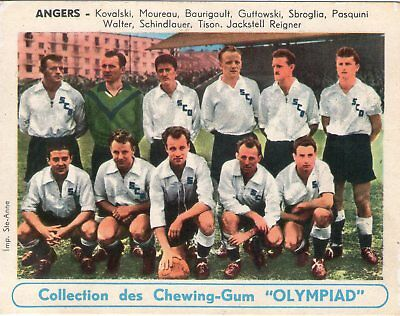RARE ETAT NEUF.SPORTS.EQUIPE FOOTBALL.CHEWING GUM OLYMPIAD.(années 50 ) ANGERS