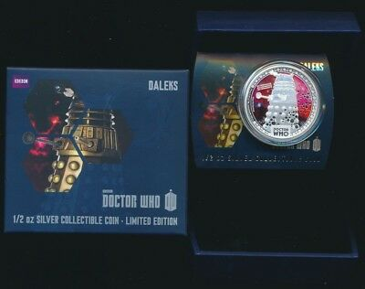 [[Niue 2014 $1 1/2 oz .999 Silver Proof Coloured Coin Dr Who Daleks Ltd Edition