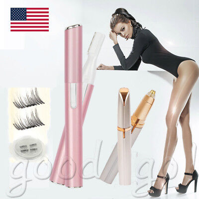 Women Painless Electric Body Facial Hair Eyebrow Trimmer Razor Shaver Remover US