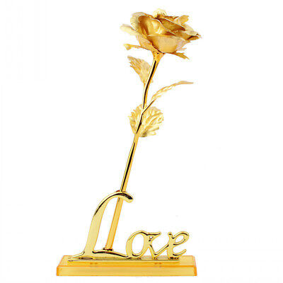 Gold Foil Plating Rose LOVE Flower Frame Base Exquisite Attractive Funny