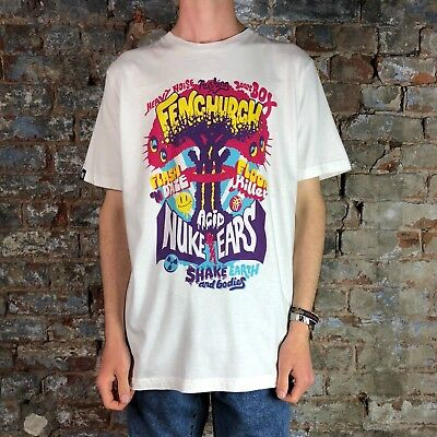 Fenchurch Mens Acid Nuke Short Sleeve T-Shirt in White in Size L,XL