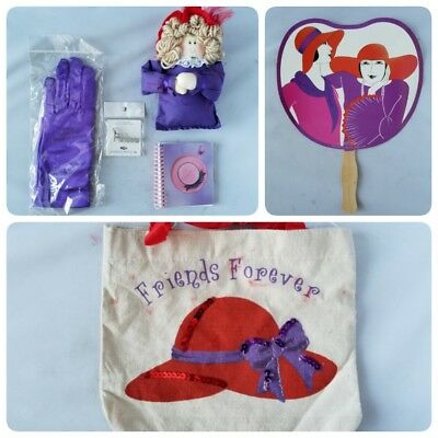 Red Hat Society Friends Forever Ladies Gift Set Tote Bag Fan Gloves Plush Toy