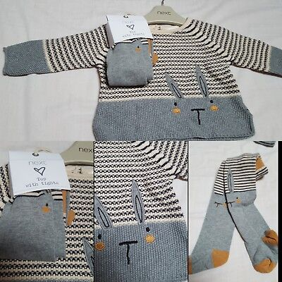 NEW⭐BNWT NEXT Baby Girl 3-6-9 Cotton Bunny Knitted Jumper/Dress & Bunny Tights