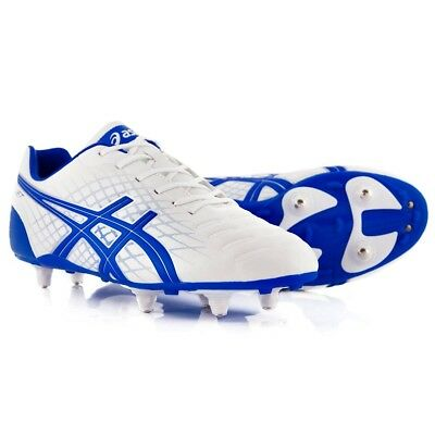 Mens Asics Jet ST Shoes White Blue Lace Up Rugby Boots