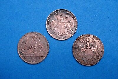 "Three (3) 1808 East India ""x"" Cash Copper Shipwreck Coins--Nice Coins"