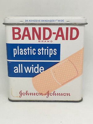 Vintage Band-Aid Brand Plastic Strips Wide All Wide 65 Cents Metal Box