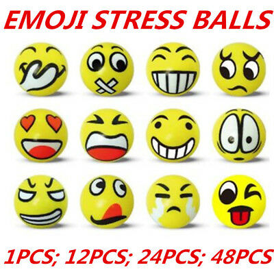EMOJI FACE STRESS BALLS Hand Relief Squeeze BALL Reliever Soft Toy Smiley WMCV