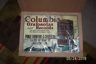 Antique COLUMBIA GRAFONOLAS and RECORDS Adv. Sign/PRINCE FURNITURE Hazleton, PA.