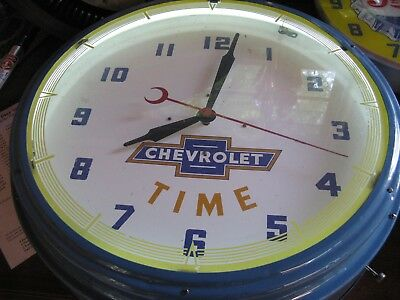 Vintage 1950S Neon Chevrolet Dealership Clock