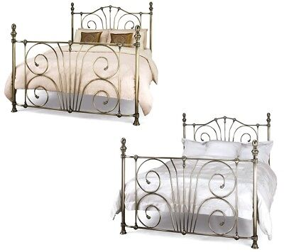 Antique brass/nickel bed frame.Traditional Victorian bedstead.4ft,double,5ft,6ft