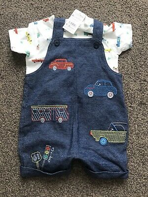*NUTMEG BABY BOYS SUMMER SHORTY DUNGAREES & T-SHIRT TOP* 6-9 NEW,Cars Outfit Set