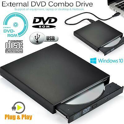 USB 2.0 External DVD Portable Slim ROM Combo Drive CD RW Writer Reader Player