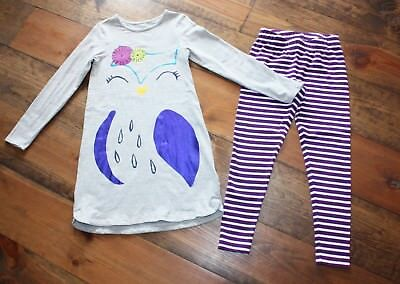 Lands' End Girl's 2-Piece Outfit, Owl Top And Striped Leggings, Size 7-8