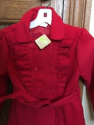 Crazy 8 Girl's Polyester Dress Coat Ruffle Red Size M(7-8) NWT