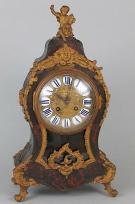 ANTIQUE BOULLE CLOCK restore INLAID TO 3 SIDES & CASES'S INTERIOR bell strike