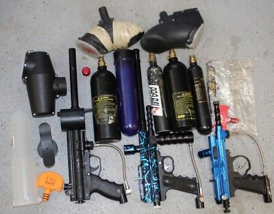 Used Lot Of Paintball Guns, Items, With Carrying Case!