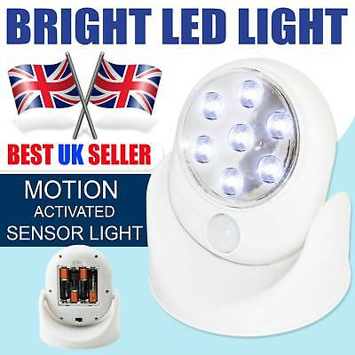LED Motion Sensor Light Battery Operated Outdoor Indoor Garden Wall Patio Shed