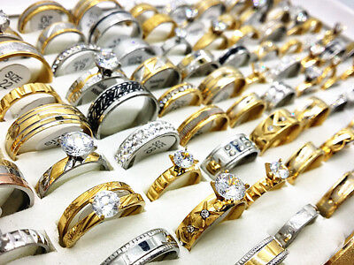 Wholesale 50pcs Mix Styles Top Stainless Steel Rings for Men Women Wedding Band