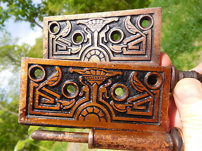 1870 Antique American Aesthetic Russell & Erwin Co. Greco-Egyptian~2 Door Hinges