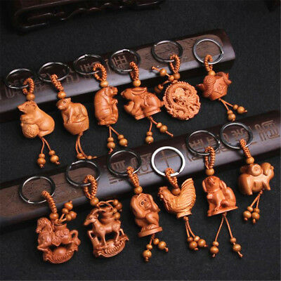 3D Peach Wood Carving Twelve Chinese Zodiac Animal Statue Key Chain Pendant