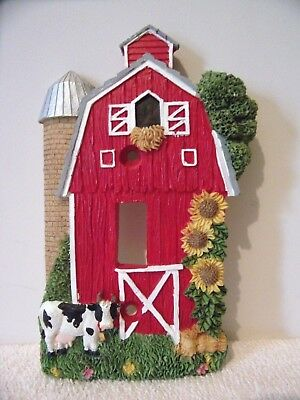 Holstein Cow and Barn Single Electrical Switch Plate/Cover  *New*