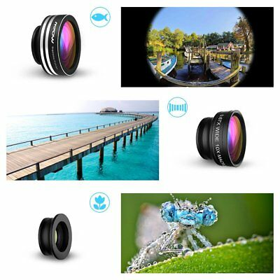 Mpow 3 in 1 Clip On Wide Angle Macro Fish eye Lens Camera Kit for iPhone Samsung