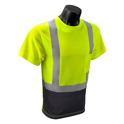 Radians Class 2 Short Sleeve Black Bottom Safety Shirt, Yellow/Lime
