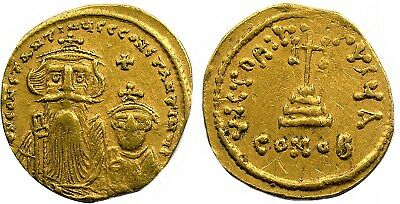 ca. 1654-9 GOLD SOLIDUS of Constans II, sharp Byzantine GOLD coin, nice EF!