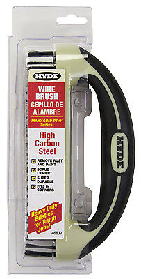 Hyde Tools 46837 Wire Brush With Scraper Blade, Ergonomic, 8 x 1-1/4-In. -