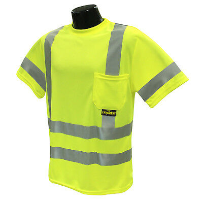 Radians Class 3 Reflective Mesh Safety Shirt with Pocket, Yellow/Lime