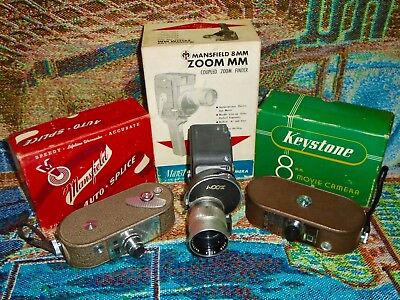 Lot Group of Vintage 8mm Movie Cameras with Original Boxes - Keystone Mansfield