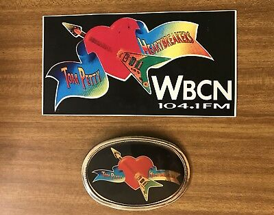 Rare Vintage 1970's Tom Petty & the Heartbreakers belt buckle with wbcn Sticker