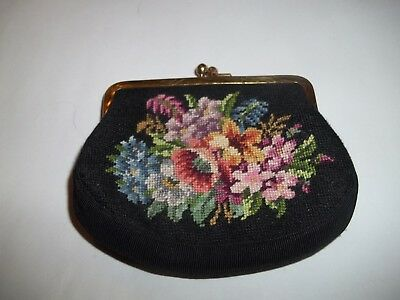 VINTAGE Petit Point Change Purse Coin Pouch Hand Made Antique Needlepoint Bag