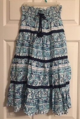 Justice Girls Size 10 Skirt Teal Blue & White Print With Sequence