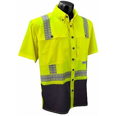 Radians Class 2 Black Bottom Safety Polo Shirt, Yellow/Lime